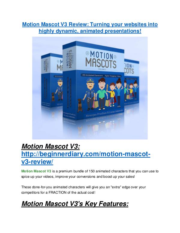 marketing Motion Mascot V3 review - Motion Mascot V3 +100 bonus items
