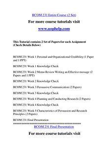 BCOM 231 Experience Tradition/uophelp.com