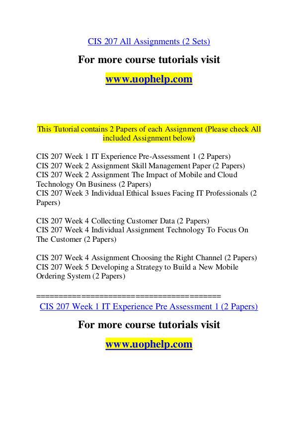 CIS 207 Experience Tradition/uophelp.com CIS 207 Experience Tradition/uophelp.com
