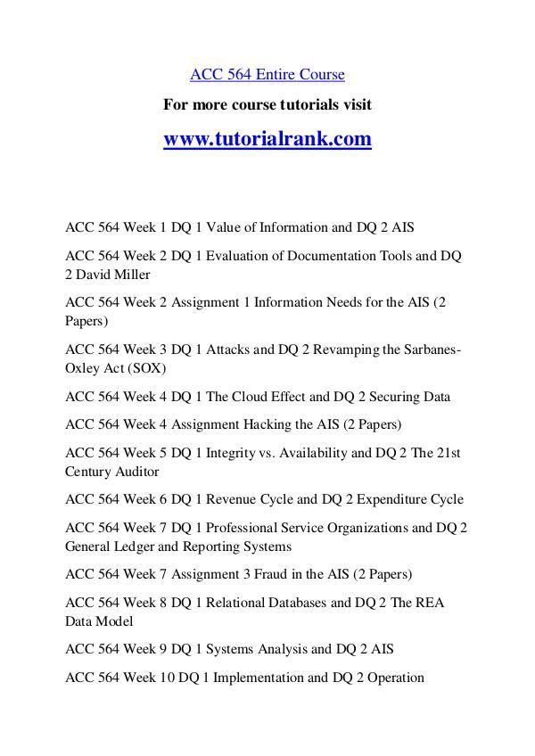 ACC 564 Course Great Wisdom / tutorialrank.com ACC 564 Course Great Wisdom / tutorialrank.com