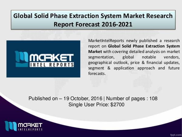Global Solid Phase Extraction System Market Analysis – 2016-2021 solid phase extraction system