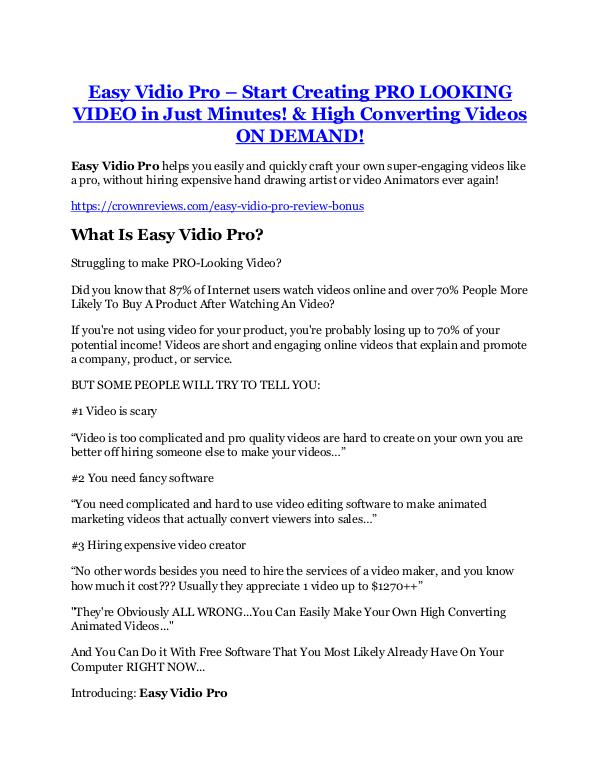 Marketing Easy Vidio Pro Review & (Secret) $22,300 bonus