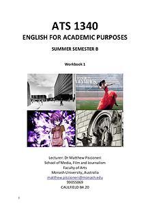 ATS1340 ENGLISH FOR ACADEMIC PURPOSES WORKBOOK 1
