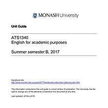 ATS1340 ENGLISH FOR ACADEMIC PURPOSES WORKBOOK 1