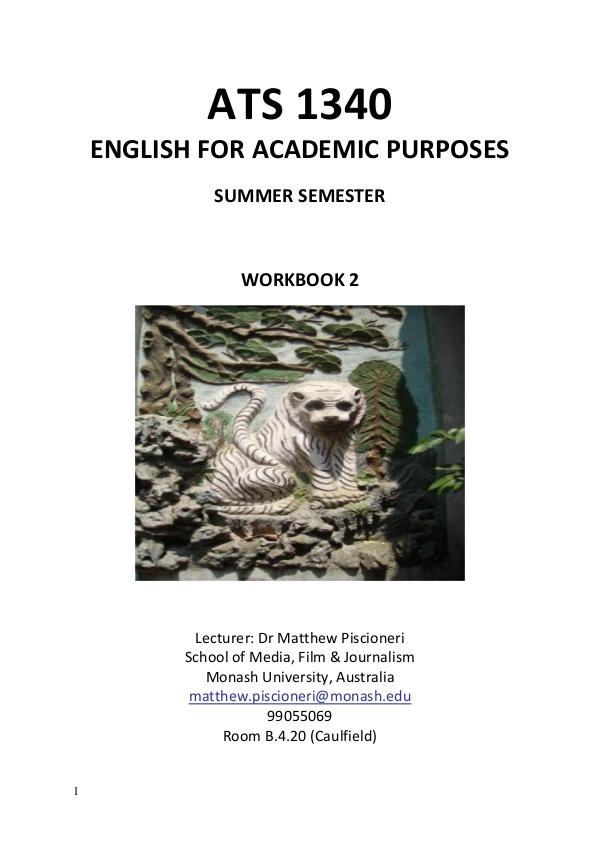 ATS1340 ENGLISH FOR ACADEMIC PURPOSES WORKBOOK 1 ISSUE 4