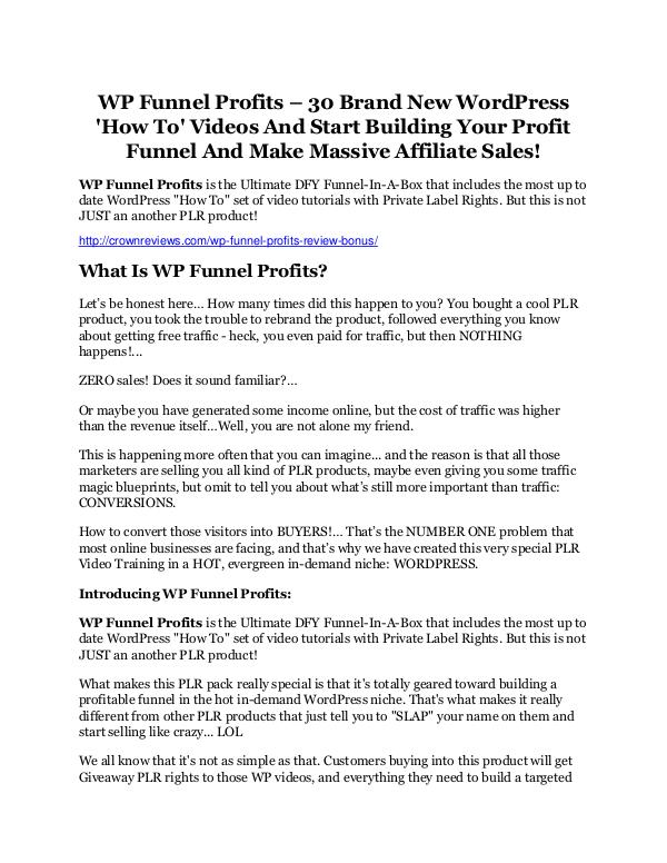 WP Funnel Profits review - A cool weapon! WP Funnel Profits review - A top notch weapon