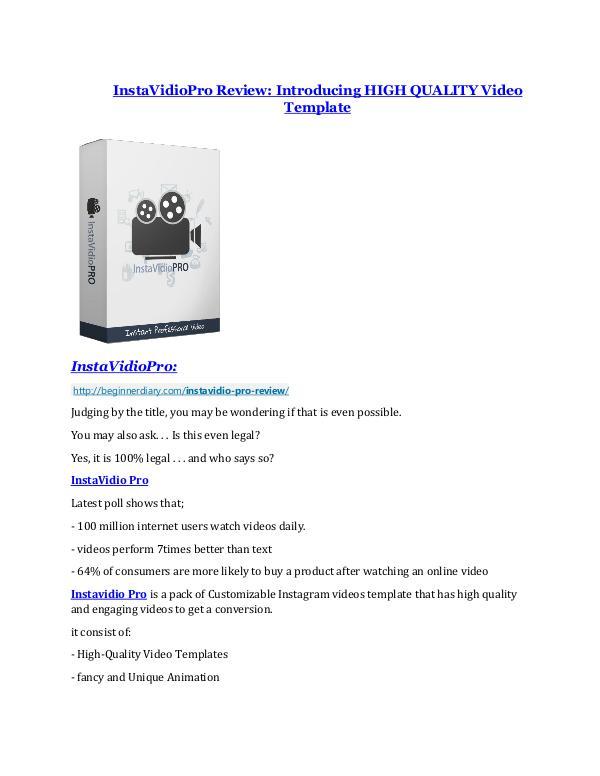 InstaVidioPro review - InstaVidioPro (MEGA) $23,800 bonuses InstaVidioPro review-$16,400 Bonuses & 70% Discount