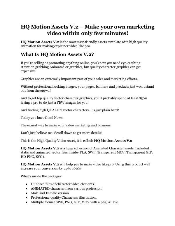 HQ Motion Assets V.2 review & (GIANT) $24,700 bonus HQ Motion Assets V.2 Review & GIANT Bonus