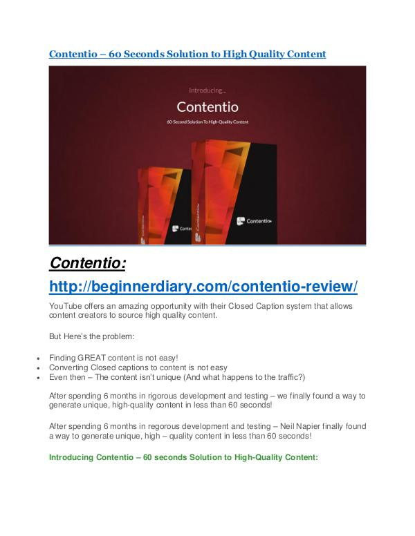 Contentio review & huge +100 bonus items Contentio Review and (MASSIVE) $23,800 BONUSES