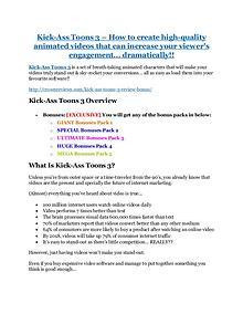 Marketing Kick-Ass Toons 3 review in detail – Kick-Ass Toons 3 Massive bonus