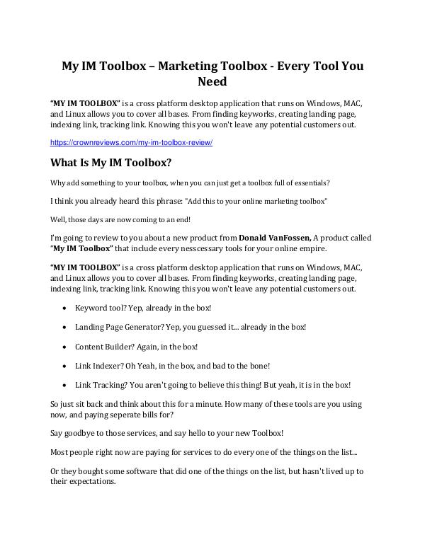 My IM Toolbox review - I was shocked! My IM Toolbox review - Get $15900 free bonuses now