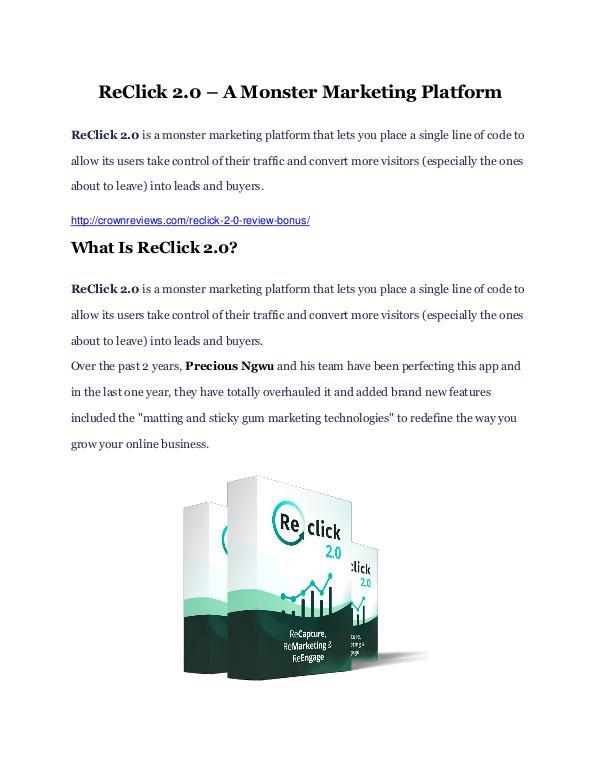 ReClick 2.0 Review-(GIANT) bonus & discount ReClick 2.0 Review