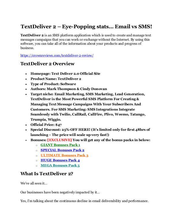 TextDeliver 2 review and Exclusive $26,400 Bonus AMAZING!! TextDeliver 2 Review