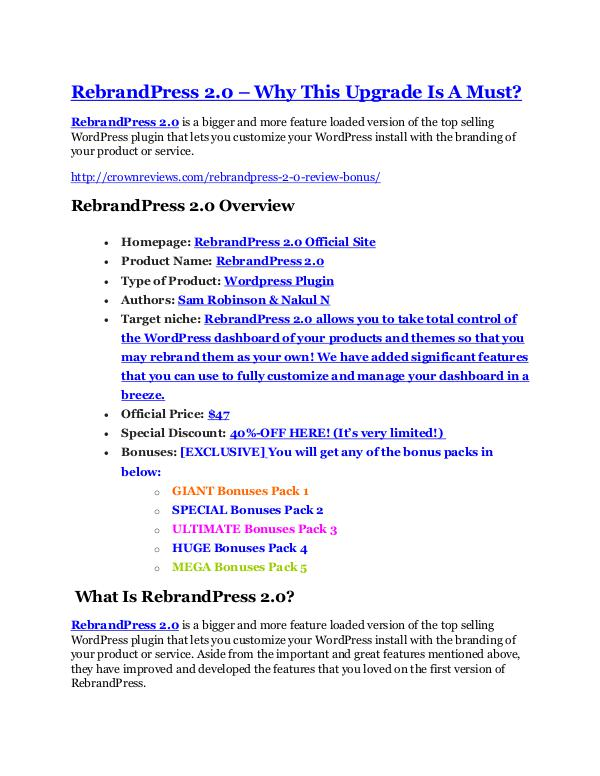 RebrandPress 2.0 Review demo - $22,700 bonus RebrandPress 2.0 REVIEW & RebrandPress 2.0 (SECRET) Bonuses