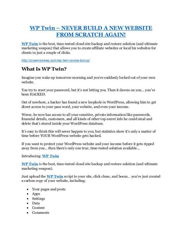 Marketing WP Twin review demo and premium bonus