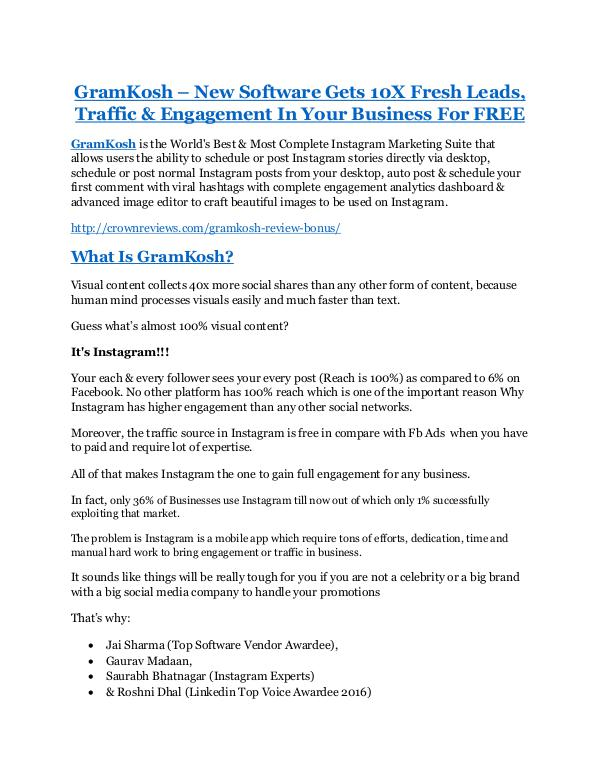 Marketing GramKosh Review - SECRET of GramKosh