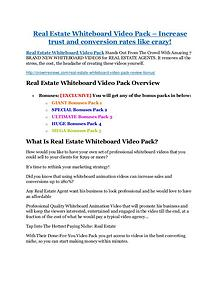 Marketing Real Estate Whiteboard Video Pack Review-$32,400 bonus & discount