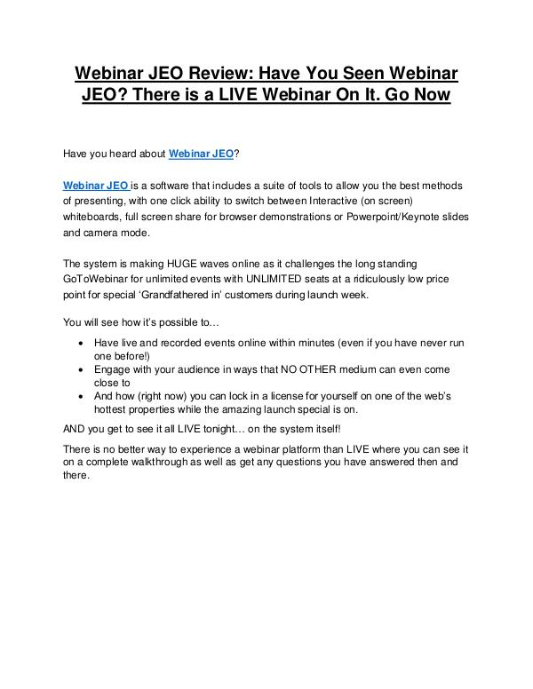 Webinar JEO review & bonus - I was Shocked! Webinar JEO Review and Premium $14,700 Bonus