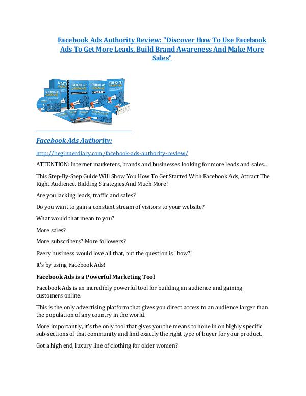 Facebook Ads Authority Review - 80% Discount and $26,800 Bonus Facebook Ads Authority Review & Facebook Ads Authority $16,700 bonuses