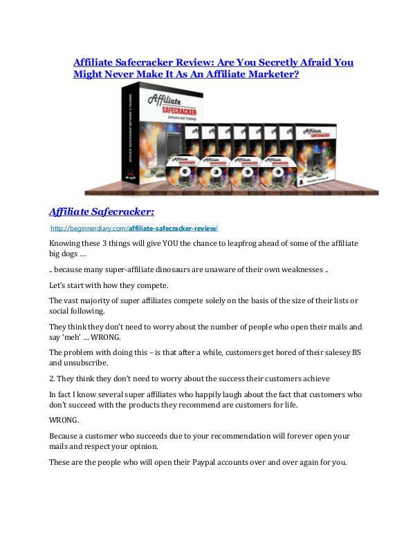 Affiliate Safecracker review and MEGA $38,000 Bonus - 80% Discount Affiliate Safecracker Review and $30000 Bonus - Affiliate Safecracker 80% DISCOUNT