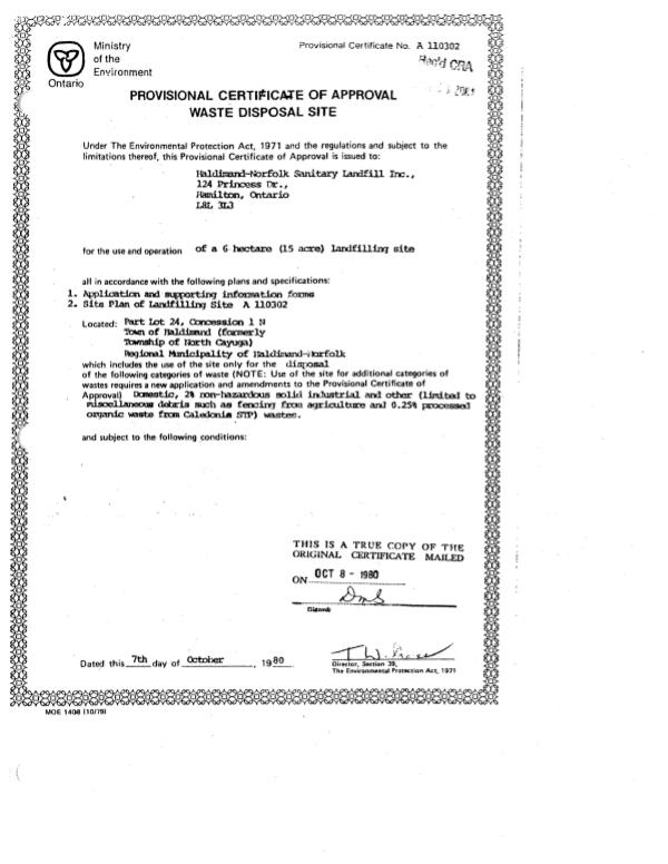 Brooks Road Landfill Certificate of Approval of Waste Disposal Site Brooks Road Landfill Certificate of Approval