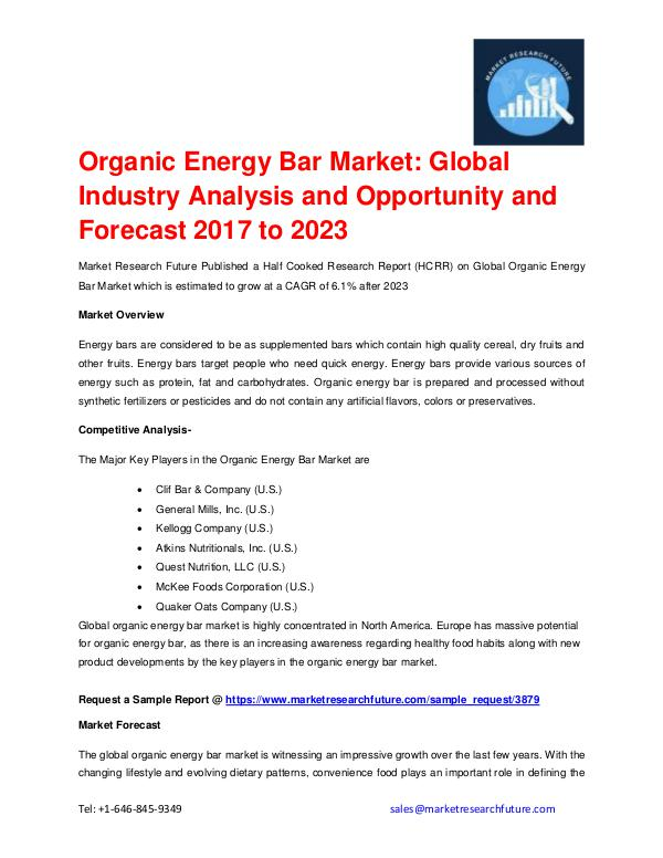 Market Research Future (Food and Beverages) Global Organic Energy Bar Market Forecast