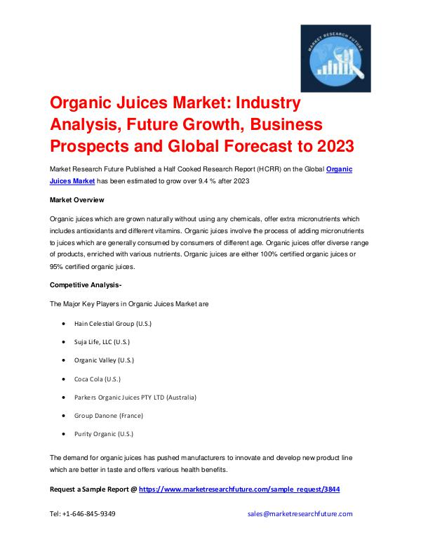 Market Research Future (Food and Beverages) Organic Juices Market outlook 2017-2023 explored i