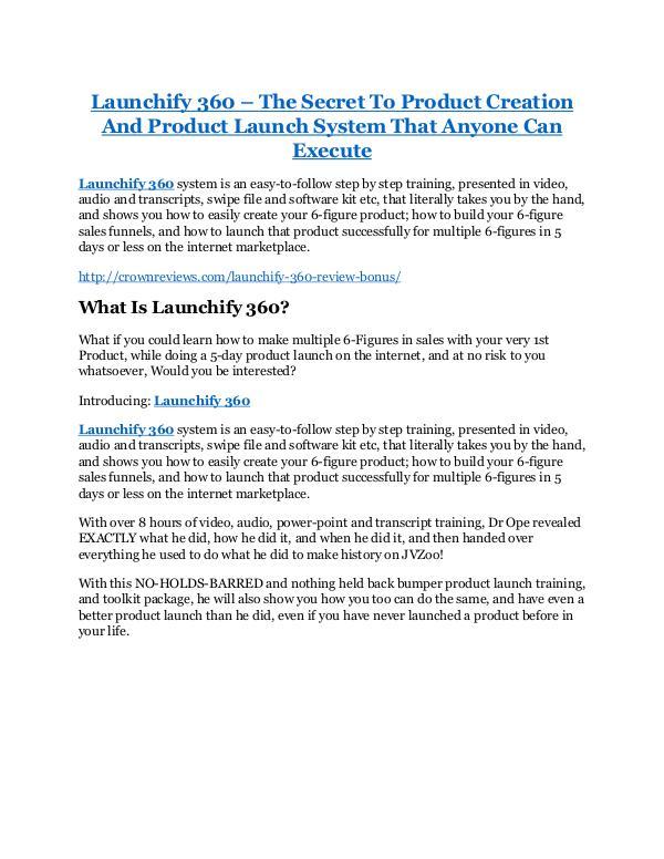 Launchify 360 review & Launchify 360 (Free) $26,700 bonuses Launchify 360 review and MEGA $38,000 Bonus - 80%