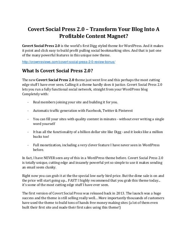 Covert Social Press 2.0 review and $26,900 bonus - AWESOME! Covert Social Press 2.0 review