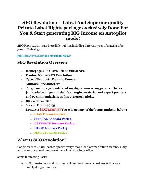 SEO Revolution Review and Premium $14,700 Bonus SEO Revolution Live Review