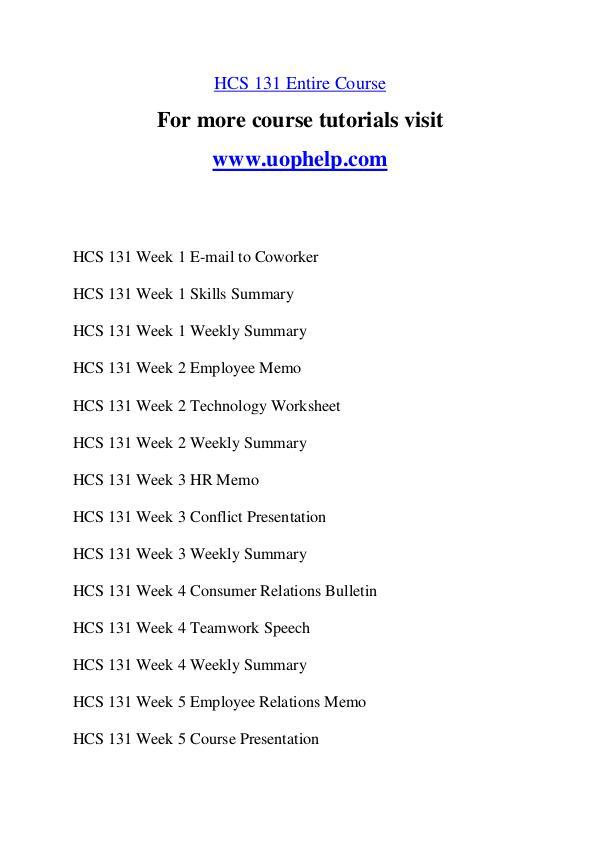 HCS 131 Experience Tradition/uophelp.com HCS 131 Experience Tradition/uophelp.com