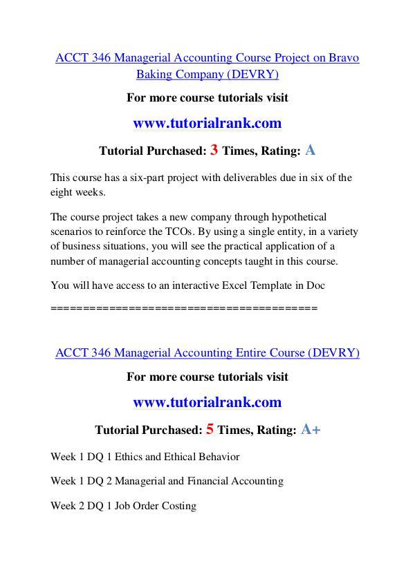 ACCT 346 Course Great Wisdom / tutorialrank.com ACCT 346 Course Great Wisdom / tutorialrank.com