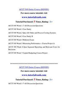 ACCT 505 Course Great Wisdom / tutorialrank.com