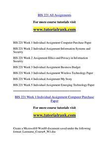 BIS 221 Course Great Wisdom / tutorialrank.com