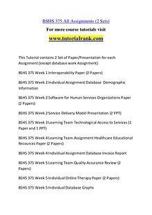 BSHS 375 Course Great Wisdom / tutorialrank.com