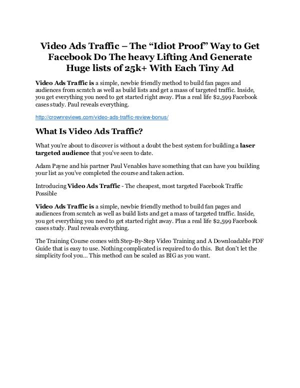 Video Ads Traffic review and Exclusive $26,400 Bonus Video Ads Traffic Review & HUGE $23800 Bonuses
