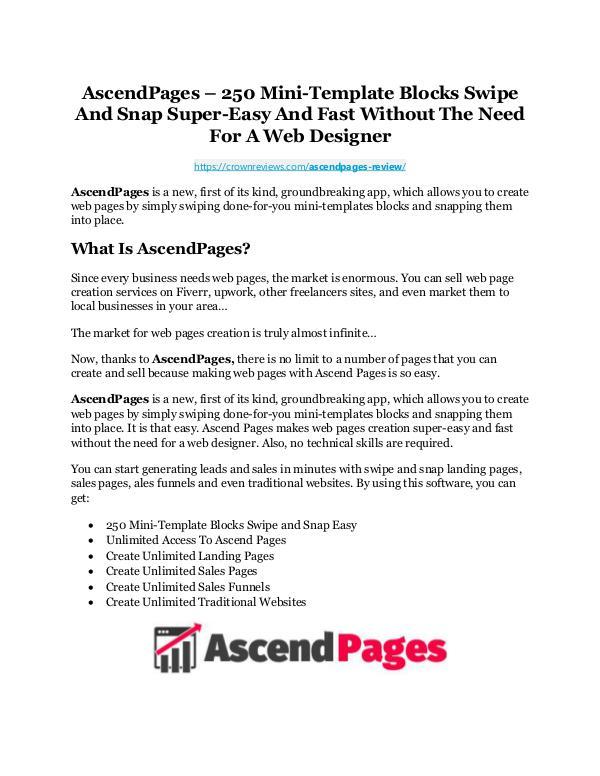 AscendPages Review-AMAZING $32,000 Bonus & Discount AscendPages Review & GIANT Bonus
