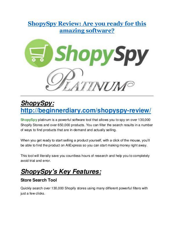 ShopySpy Review-$9700 Bonus & 80% Discount ShopySpy Review & (Secret) $22,300 bonus
