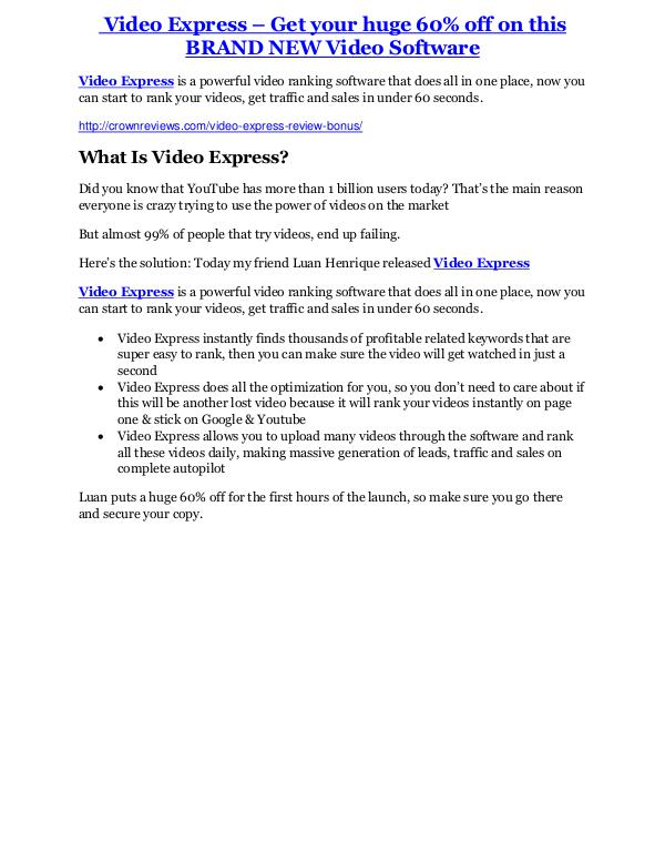 Video Express review & massive +100 bonus items