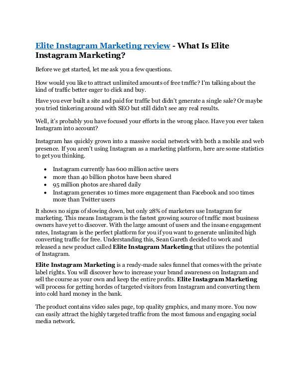 Elite Instagram Marketing Review & GIANT Bonus