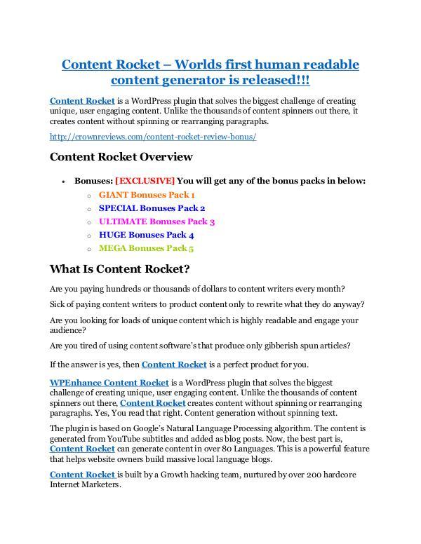 Marketing Content Rocket Review and (MASSIVE) $23,800 BONUSES