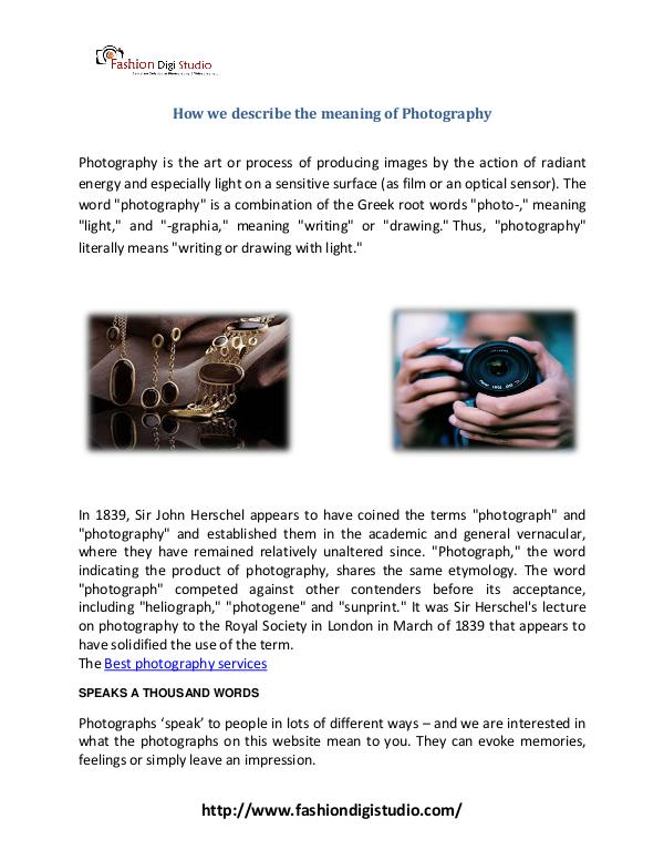 How We Describe The Meaning Of Photography