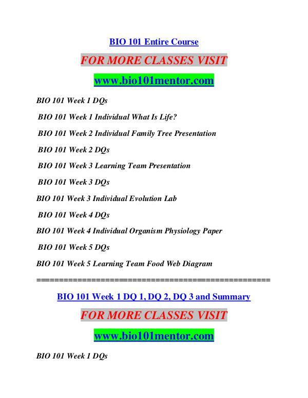 BIO 101 MENTOR Future Starts Here/bio101mentor.com BIO 101 MENTOR Future Starts Here/bio101mentor.com