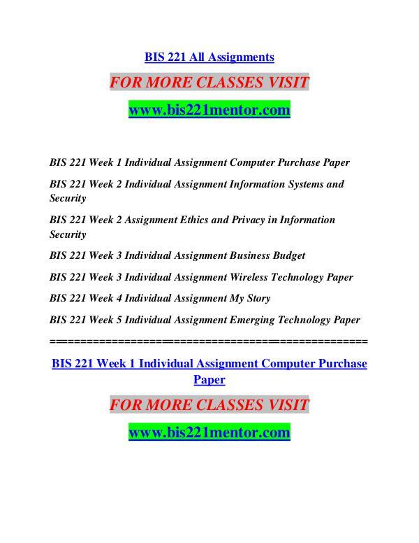 BIS 221 MENTOR Future Starts Here/bis221mentor.com BIS 221 MENTOR Future Starts Here/bis221mentor.co