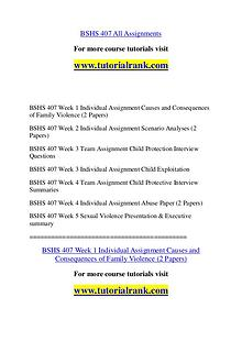 BSHS 407 Course Great Wisdom / tutorialrank.com