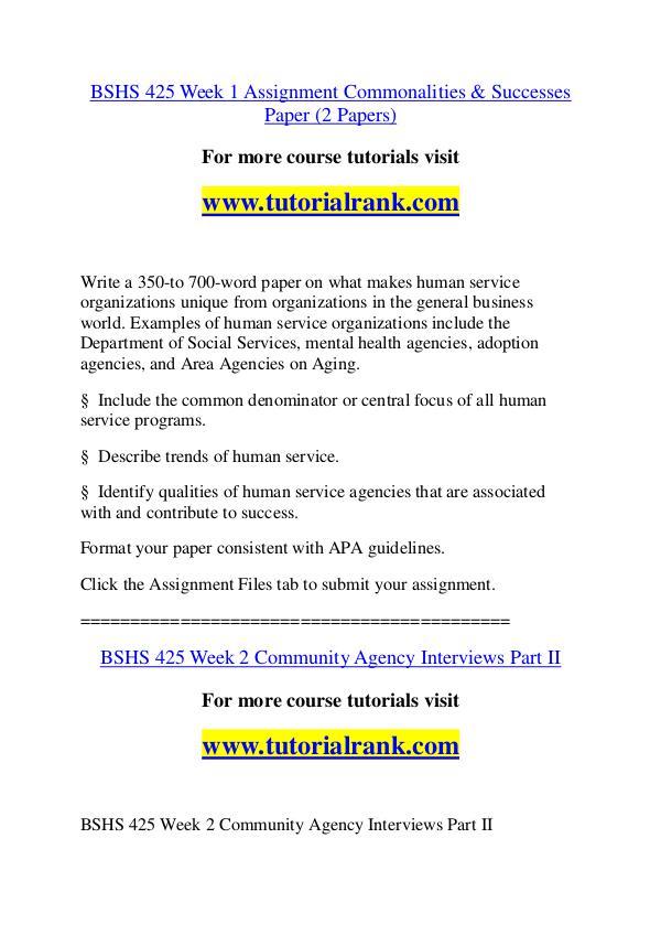 BSHS 425 Course Great Wisdom / tutorialrank.com BSHS 425 Course Great Wisdom / tutorialrank.com