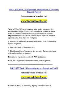 BSHS 425 Course Great Wisdom / tutorialrank.com