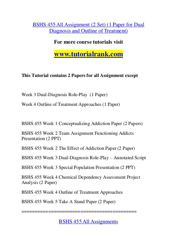 BSHS 455 Course Great Wisdom / tutorialrank.com BSHS 455 Course Great Wisdom / tutorialrank.com