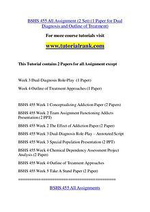 BSHS 455 Course Great Wisdom / tutorialrank.com