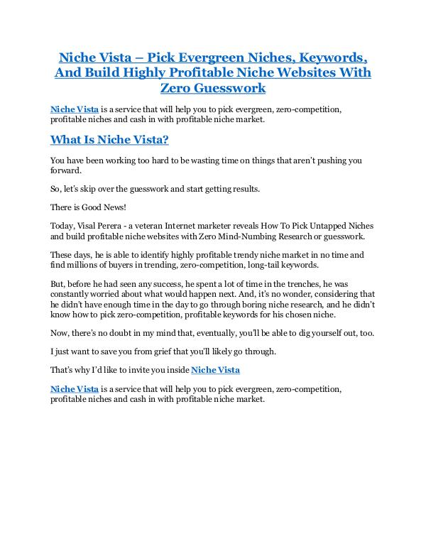 Niche Vista Review & (Secret) $22,300 bonus Niche Vista review- Niche Vista (MEGA) $21,400 bon